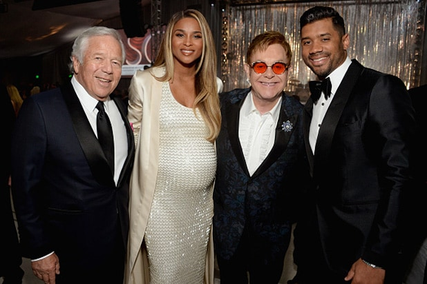 Robert Kraft, Ciara, host Elton John, and Russell Wilson inside the 25th Elton John Oscar Night Viewing party on Sunday night, February 26, 2017. (Michael Kovac/Getty Images)