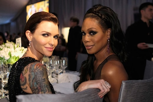 Ruby-Rose-and-actor-Laverne-Cox-at-Elton-John-party