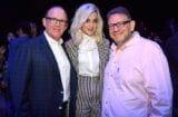 LOS ANGELES, CA - FEBRUARY 11: (L-R) Chairman and CEO of Capitol Music Group Steve Barnett, recording artist Katy Perry, and Chief Executive Officer of Universal Music Group Lucian Grainge attend Sir Lucian Grainge's 2