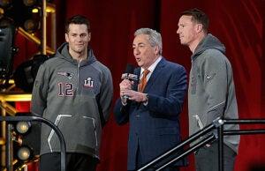 Tom Brady, Matt Ryan and Sal Paolantonio at Super Bowl LI