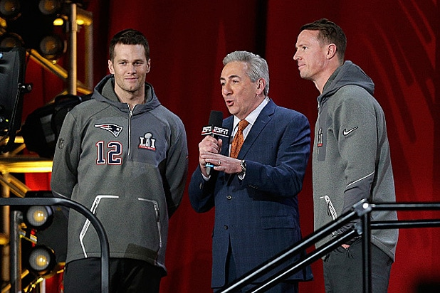 Tom Brady, Matt Ryan and Sal Paolantonio at Super Bowl LI