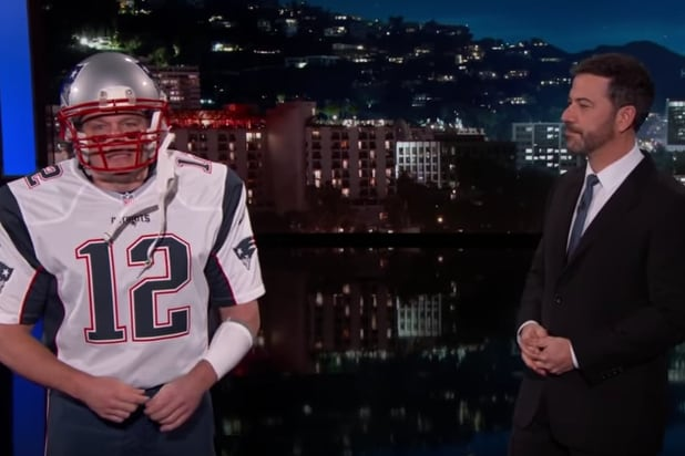 5a33e93ab Matt Damon Crashes  Jimmy Kimmel Live  as Super Bowl MVP Tom Brady (Video)