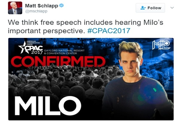 milo yiannopoulos timeline cpac confirmed