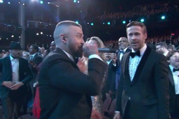 oscars academy awards timberlake ryan gosling