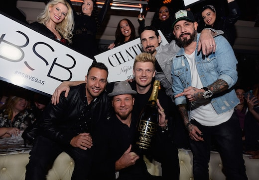"LAS VEGAS, NV - MARCH 02: (L-R) Singers Howie Dorough, Brian Littrell, Nick Carter, Kevin Richardson and A.J. McLean of the Backstreet Boys attend the after party of the debut of the group's residency ""Larger Than Life"" at the Chateau Nightclub & Rooftop at the Paris Las Vegas on March 2, 2017 in Las Vegas, Nevada. (Photo by Bryan Steffy/WireImage)"