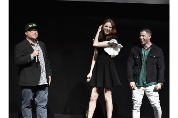 "Jack Black (far left), Karen Gillan and Nick Jonas of Sony Pictures' ""Jumanji"" hit the stage in Vegas."