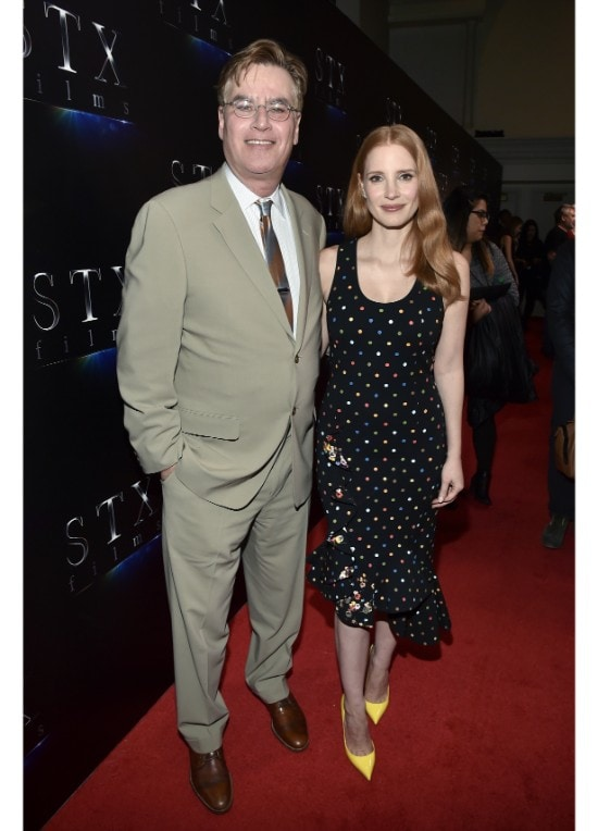 Aaron Sorkin and Jessica Chastain