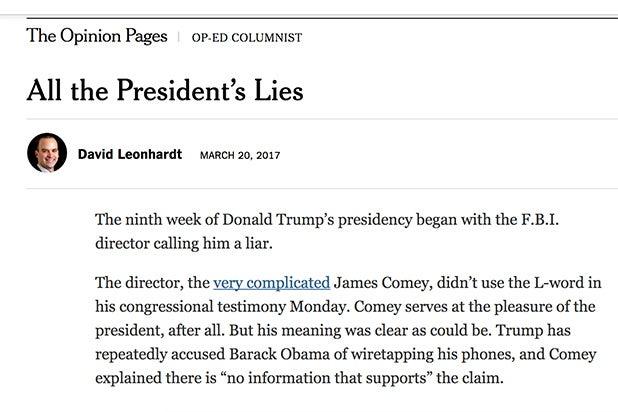 Trump Lie New York Times