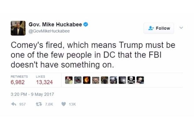 huckabee joke comey fired