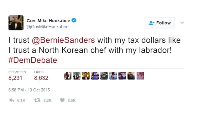 huckabee joke north korea dog twitter