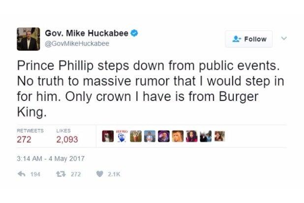 huckabee joke prince phillip