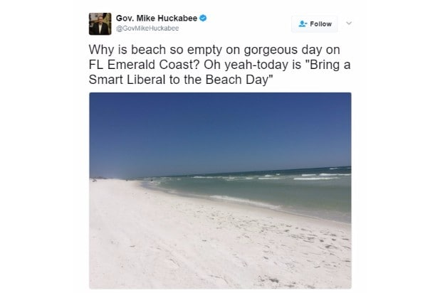 huckabee joke smart liberal beach