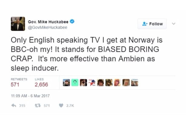huckabee jokes bbc twitter
