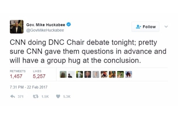 huckabee jokes cnn dnc chair debate Twitter