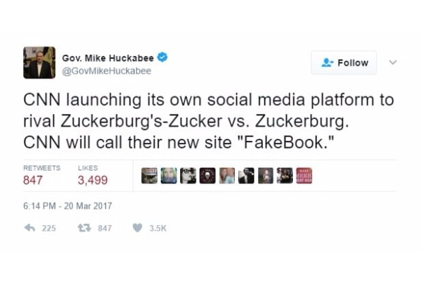 huckabee jokes fakebook cnn twitter