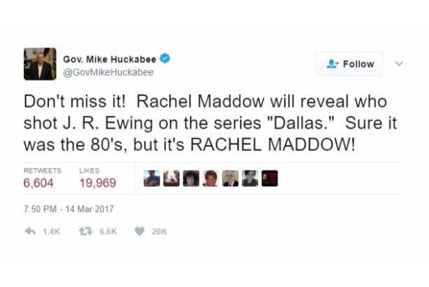 huckabee jokes jr ewing twitter