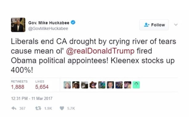 huckabee jokes liberal tears drought twitter