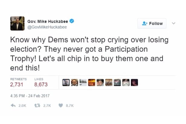 huckabee jokes participation trophy twitter