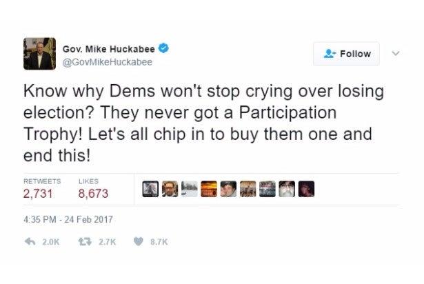 huckabee jokes participation trophy twitter