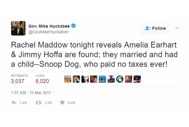 huckabee jokes snoop hoffa earhart twitter