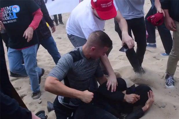 huntington beach trump rally violence