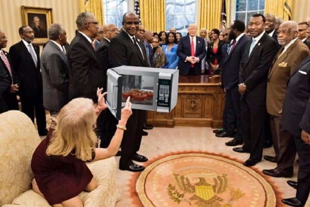 kellyanne microwave couchgate meme machine rolls over kellyanne conway again with microwavegate