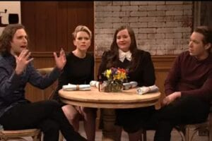 snl saturday night live a day without a woman scarlett johansson kyle mooney aidy bryan beck bennett