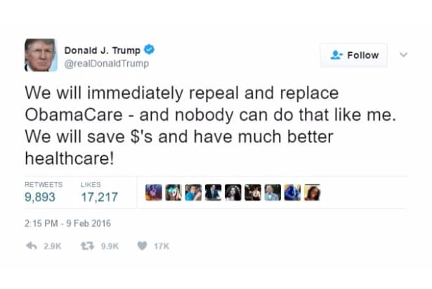 trump self own repeal and replace