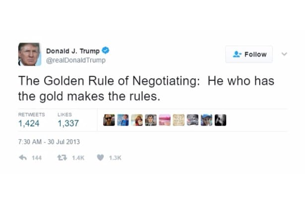 trump self own twitter gold makes rules