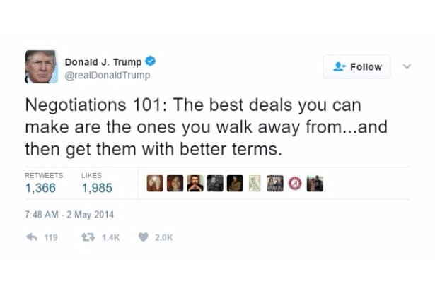 trump self own twitter negotiation 101