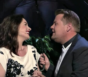 Anne Hathaway and James Corden