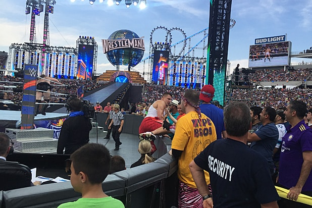 Rob Gronkowski invades the ring as WrestleMania