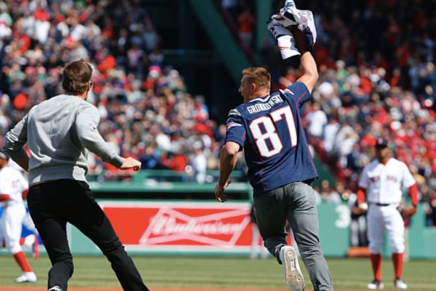 on sale cdd6d a9c7f Watch Tom Brady's Jersey Get Stolen Again at Red Sox Opening ...