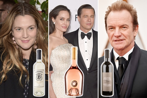 celebrity wine drew barrymore angelina jolie brad pitt sting