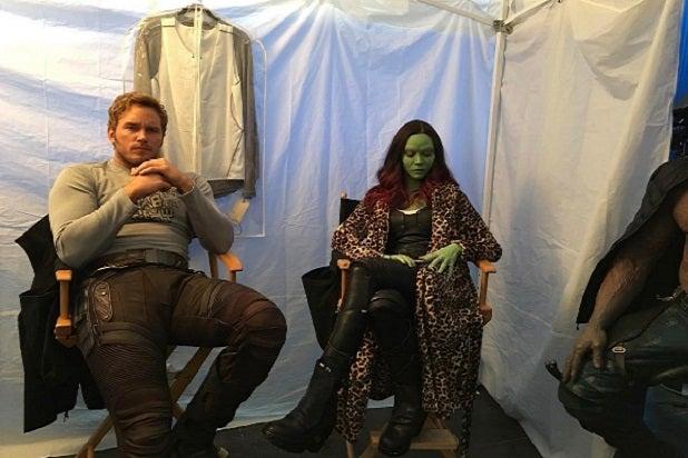 guardians of the galaxy vol 2 chris pratt zoe saldana behind the scenes