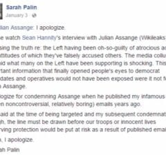 palin apologizes to assange wikileaks facebook