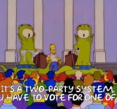 simpsons 30th anniversary memes two party system