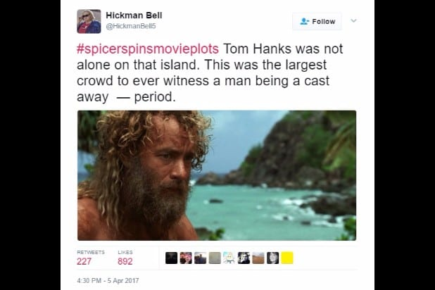 spicer spins movie plots castaway inauguration crowd period