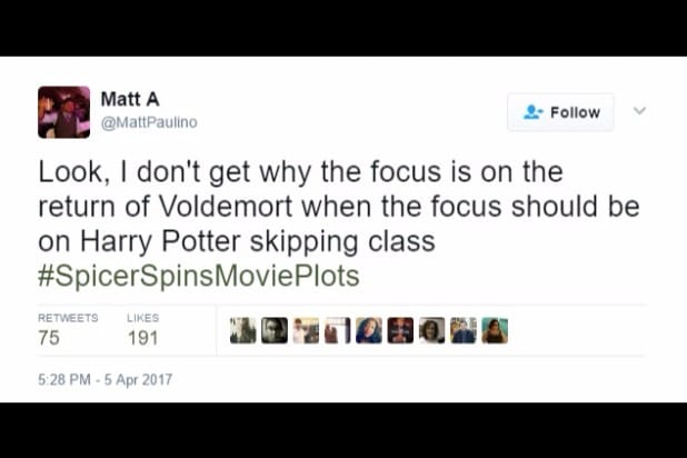 spicer spins movie plots harry potter voldemort