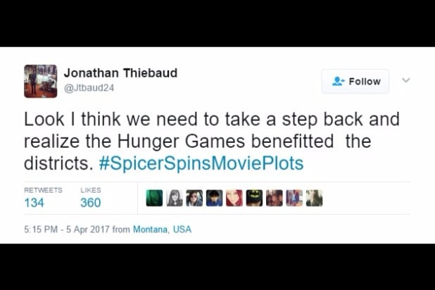spicer spins movie plots hunger games benefitted the districts