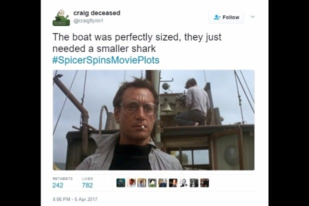 spicer spins movie plots jaws bigger boat smaller shark