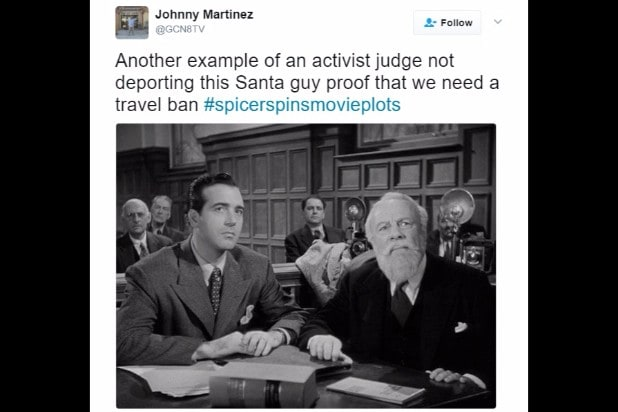 spicer spins movie plots miracle on 34th street santa travel ban