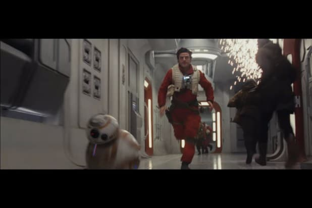 star war the last jedi teaser photos poe dameron bb 8 running