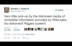 donald trump wikileaks hillary email rigged system twitter