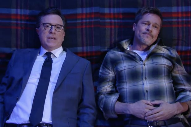 Brad Pitt answers Stephen Colbert's 'big questions' on 'Late Show'