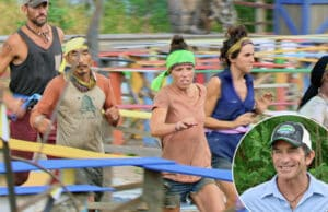 The final six contestants race through a giant maze during the Survivor: Game Changers finale. (CBS).