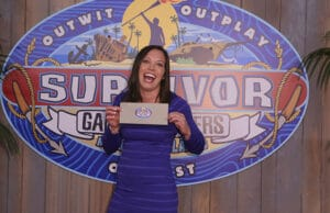 'Survivor: Game Changers' winner Sarah Lacina's $1 million check was accidentally ripped by former by former champs Tony Vlachos and Sandra Diaz-Twine. (CBS)