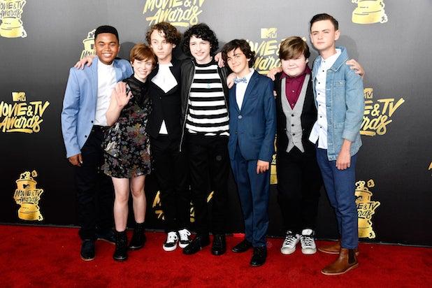 "Stars of ""It"" Chosen Jacobs, Sophia Lillis, Wyatt Oleff, Finn Wolfhard, Jack Dylan Grazer, Jeremy Ray Taylor and Jaeden Lieberher"