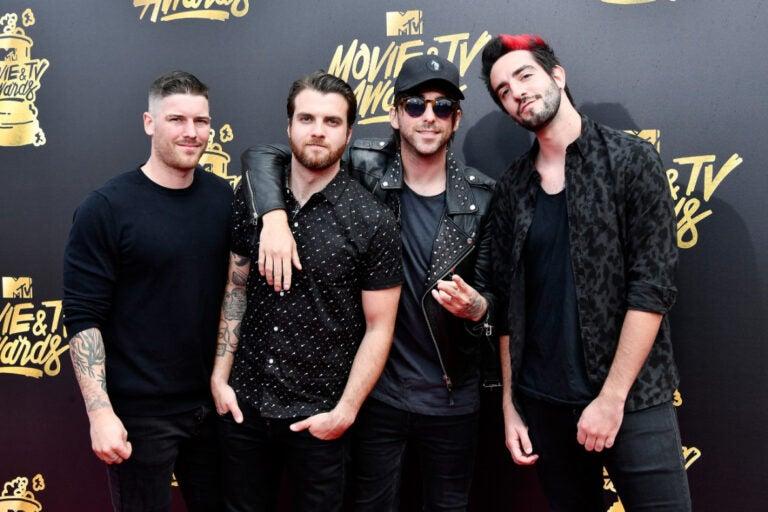 Musician Zack Merrick, Rian Dawson, Alex Gaskarth and Jack Barakat of All Time Low