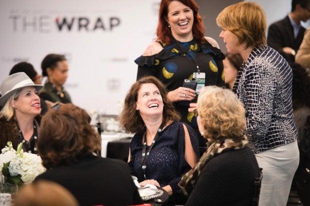 Sharon Waxman speaking with attendees at Power Women Breakfast San Francisco 2017